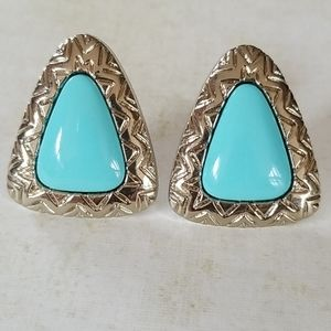 Vintage Faux Turquoise Silver Tone Earrings